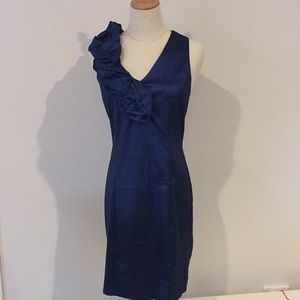 Cocktail dress up Navy blue shimmer Ruffle Dress